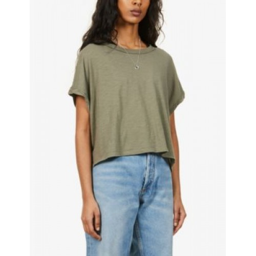 FREE PEOPLE Women's Tops You Rock scooped-neck cotton-jersey T-shirt Hs Code VVIWOQ5I