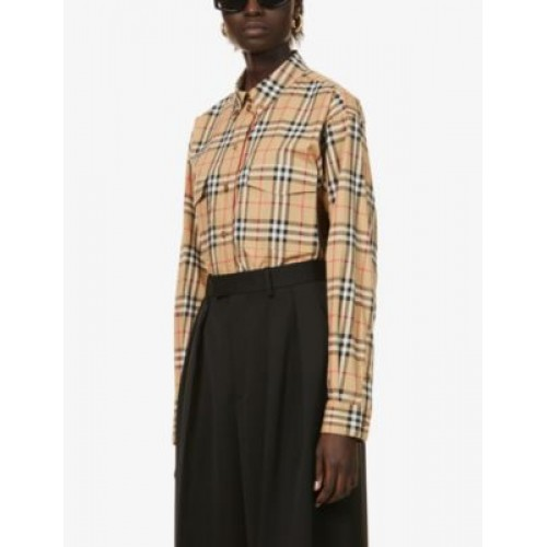 BURBERRY Womens Clothing Turnstone checked stretch-cotton shirt Everyday New EJ4N3H56