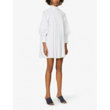 CAMILLA AND MARC Women's Tori pin-tucked puffed-sleeve cotton-poplin mini dress Going Out sale online 4Q8ME8Q7