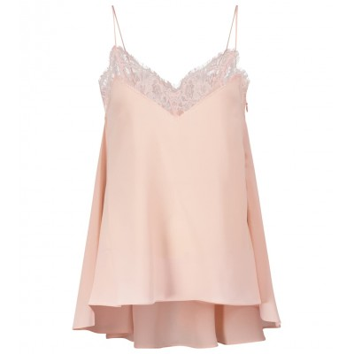 Alexander McQueen Womens Tops Lace-trimmed silk camisole P00547328